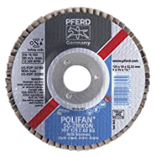 PFERD Polifan SG Abrasive Flap Disc, Type 27, Round Hole, Phenolic Resin Backing, Zirconia Alumina