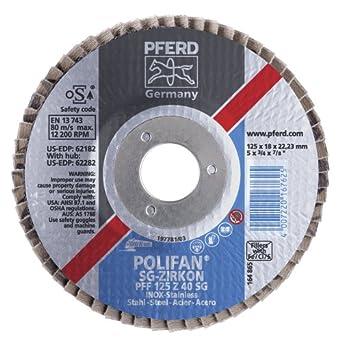 PFERD Polifan SG Abrasive Flap Disc, Type 27, Round Hole, Phenolic Resin Backing, Zirconia Alumina