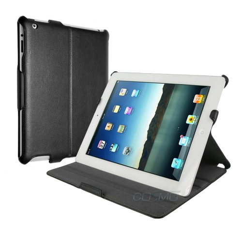 Compact Leather Folio Case for The New iPad / iPad 3 (will also fit iPad 2) Smart Cover w/ Sleep/Wake Function. **Includes FREE Screen Protector and Cleaning Cloth** by Manvex