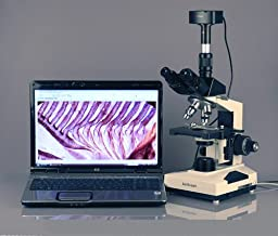 AmScope T490A-10MA Digital Compound Trinocular Microscope, WF10x and WF16x Eyepieces, 40X-1600X Magnification, Brightfield, Halogen Illumination, Abbe Condenser, Double-Layer Mechanical Stage, Sliding Head, High-Resolution Optics, Includes 10.7MP Camera w