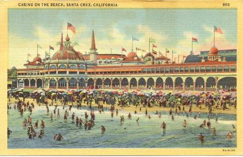 1940s Vintage Postcard - Casino on the Beach