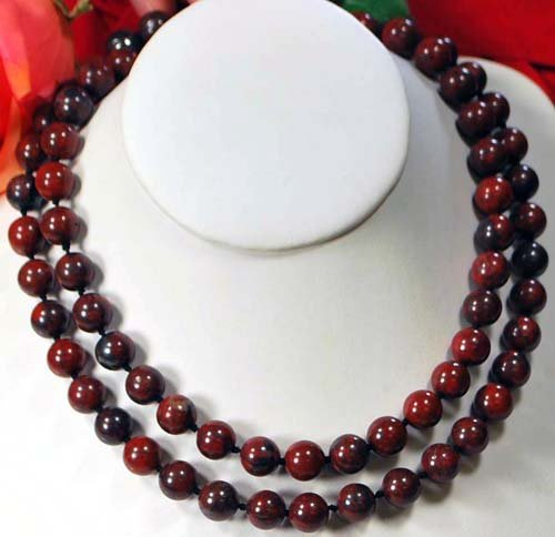 Double strands of Red Jasper 14K Gold Clasp Necklace 18