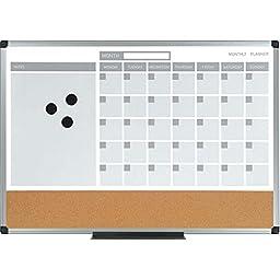 MasterVision 3-in-1 Calendar Planner Board, White/Gray, 24 x 18