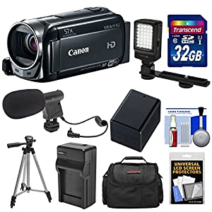 Canon Vixia HF R52 32GB 1080p HD Wi-Fi Digital Video Camcorder with 32GB Card + Battery & Charger + Case + LED Light + Mic + Tripod + Kit