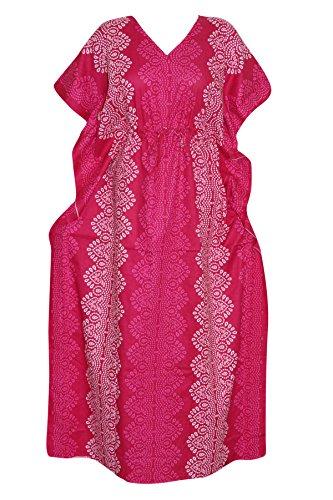 Women's Caftan Bohemian Kaftan Dress Pink Cotton Kimono Long Muumuus xxL