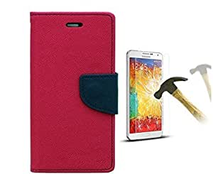 Relax And Shop Wallet Style Flip Cover with Tempered Glass Screen protector for Samsung Galaxy GRAND GT9082 - Pink & Blue