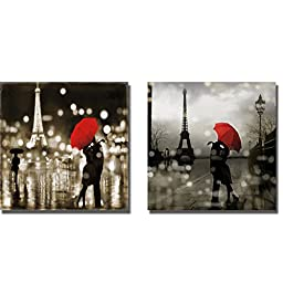 A Paris Kiss & A Paris Romance by Kate Carrigan 2-pc Premium Gallery-Wrapped Canvas Giclee Art Set (Ready-to-Hang)