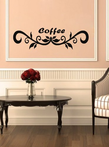 Housewares Vinyl Decal Coffee Pattern Home Wall Art Decor Removable Stylish Sticker Mural Unique Design For Cafe Room