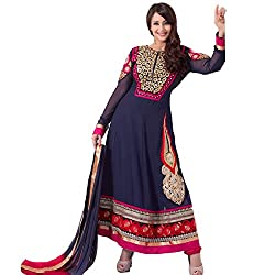 Rozdeal Women Net Embroidered Unstitched Longsleeve Nevy Blue Anarkali Suit