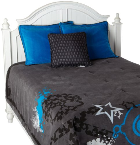 Cozy Fresh Fun Skulls and Stars Mini Comforter Set, Gray, Twin