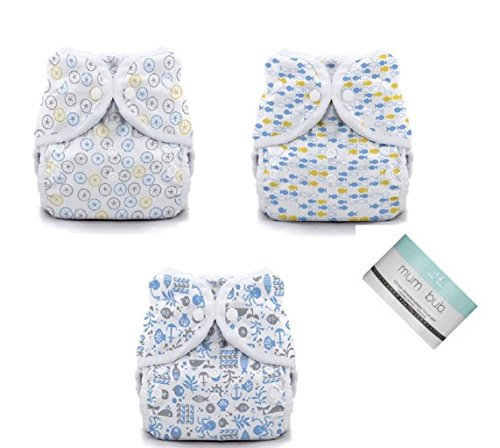 Thirsties Duo Wrap Snaps Diaper Covers 3 pack Combo Silver Dollar, School Fish, Ocean Life Sz 1