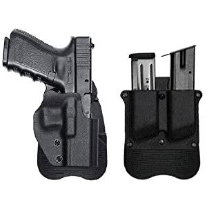 Ultimate Arms Gear Tactical Stealth Black Glock 17 19 22 23 25 26 27 28 31 32 Handgun RH Right Handed Molded Polymer Open Top Quickdraw Speed Sportster Side Concealment Paddle Holster Fits Pistols Hand Guns with & without Rails + Black 9mm .38 .40 Glock 1