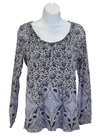Womens Liz Wear Long Sleeve Mesh Peasant Top Shirt Small Blue/Gray Multi Print