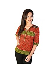 Jaipur RagaHand Block Print Ethnic Red-Black Cotton Top Red-Green Girls Kurti