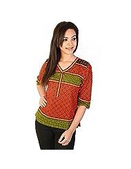 Jaipur RagaHand Block Print Ethnic Red-Black Cotton Top Red-Green Girls Kurti