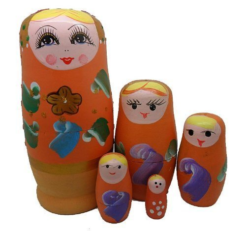 Orange Set of 5 Cutie Nesting Dolls Matryoshka Madness Russian Doll