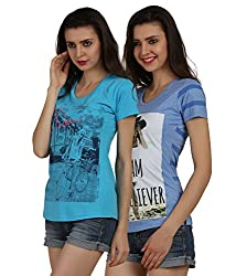 Women's Cotton Printed Tops(Pack of 2)