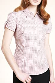 Cotton Rich Short Sleeve Spot Shirt [T43-1845-S]