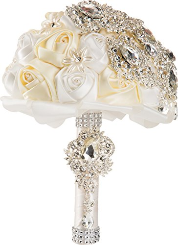 White and Ivory Silk Rose Wedding Bouquet with Crystal Diamante Rhinestones by WorldofWeddings