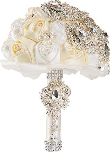 White and Ivory Silk Rose Wedding Bouquet with Crystal Diamante Rhinestones by WorldofWeddings
