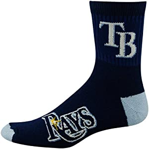 MLB Tampa Bay Rays Mens Team Quarter Socks, Large by For Bare Feet