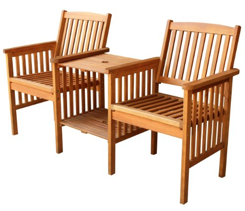 LuuNguyen – Outdoor Hardwood Tete a Tete Bench (Natural Wood Finish)