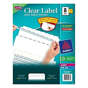 avery index maker clear label dividers 11437. Black Bedroom Furniture Sets. Home Design Ideas