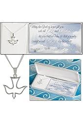 Silver Plated Romans 15:13 Open Descending Dove on 18 inch Chain