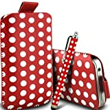 Gadget Giant Red Polka Dots PU Leather Pull Tab Protective Pouch Case Cover & Capacitive LCD Touch Screen Stylus For T-Mobile Vairy Text II