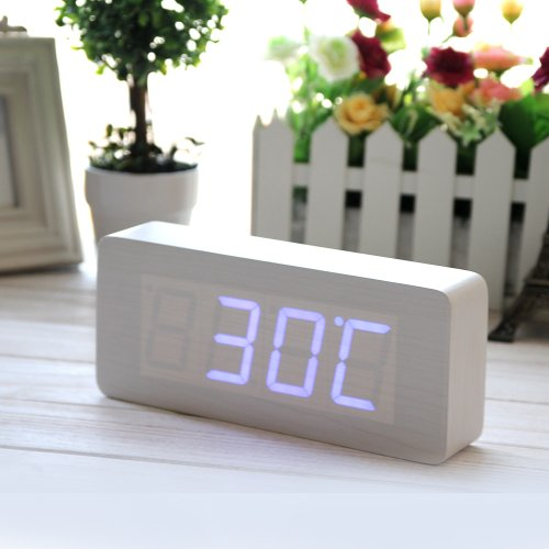 Eiiox Rectangular Wooden Alarm Clock - White Wood Grain Blue Led Clock - Time Thermometer Date Display Voice And Touch Activated front-573979