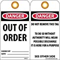 """NMC RPT25G """"DANGER - OUT OF ORDER"""" Accident Prevention Tag with Brass Grommet, Unrippable Vinyl, 3"""" Length, 6"""" Height, Orange, Black/Red on White (Pack of 25)"""