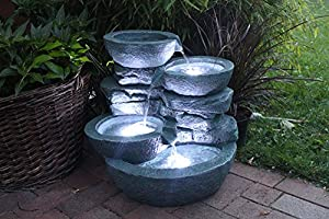 springbrunnen cascades mit led beleuchtung gartenbrunnen zimmerbrunnen garten. Black Bedroom Furniture Sets. Home Design Ideas