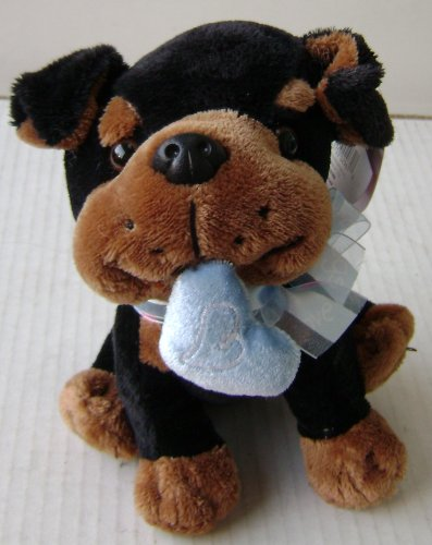 Black and Brown Dog Plush Stuffed Animal Toy with Blue Heart in Mouth - 6 inches tall - Great gift for Valentines Day, Anniveraries, Birthdays