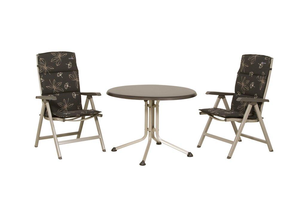 KETTLER 890671 Kettler Balkonset Basic Aluminium champagner / mocca bestehend aus: 2x Klappsessel Basic silber/grau, 2x Sesselauflage hoch Dessin Kettler 396-01436 streifen rot, 1x Tisch silber / grau