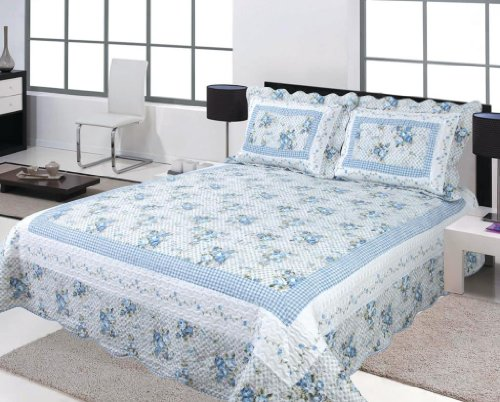 3 Pc Blue And White Floral Design Quilt Bedspread Blanket Cover King, Queen Size front-1030230