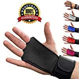 Leather Hand Grips with wrist support for Cross Fitness WODs, Pull Ups, Kettlebell workout, Barbell Training, Weightlifting, Velcro Wrist Support, Calluses Protect, For Men and Women (Black-L)