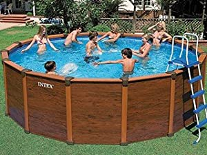 Piscine intex sequoia spirit aspect bois x m jardin - Piscine intex aspect bois ...