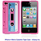 InSassy Pink/Blue Cassette Tape Case / Skin / Cover for Apple iPhone 4 /4G (AT&T & Verizon)