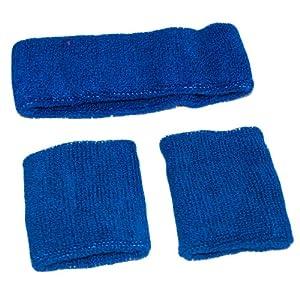 Blue Elasticated Sweat Headband / Wristband Gym Set