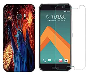 Snoogg Statue Of Liberty Combo Designer Protective Back & Shatter Proof Tempered Glass For HTC DESIRE 10 LIFESTYLE
