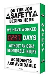 Accuform Signs SCA237 Aluminum Digi-Day Electronic Scoreboard, Legend \