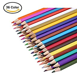Watercolor Pencil Bayam Art Coloring Water Soluble Pencil/ Non-toxic Colored Pencil Set with a Brush and a Sharpener for Kids and Adults Coloring and Painting (36 colors)