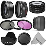 52MM Starter Accessory Kit for NIKON DSLR (D3300 D3200 D5300 D5200 D5100 D5000 D3100 D3000 D90 D80) - Includes: 0.43x Wide Angle & 2.2x Telephoto High Definition Lenses + Vivitar Filter Kit (UV, CPL, FLD) + Vivitar Macro Close-Up Set + Collapsible Lens Hood + Tulip Lens Hood + Snap On Lens Cap + MagicFiber Microfiber Cleaning Cloth