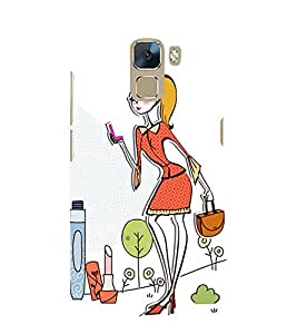 Fuson Premium Back Case Cover Stylish girl With Multi Background Degined For Huawei Honor 7