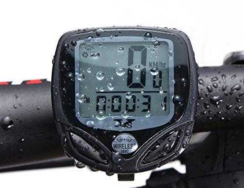 自転車LCD Tenswallワイヤレスサイクルメーター サイクルコンピュータ 防水バイクコンピュータ スピードメーターワイヤレス 走行距離計 走行時間計 15功能がある(黒い)