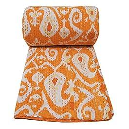 Pure Cotton Quilt Kantha Stitch naranja Colcha hecha a mano Gudri Sz 104 X 90