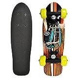 Rude Boyz 17 Inch Skateboard Mini Retro Wooden Cruiser Board Vintage Bananaboard - Car Design with Green Wheels