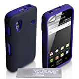 Samsung Galaxy Ace S5830 Blue Dual Combo Silicone Case Cover With Screen Protector