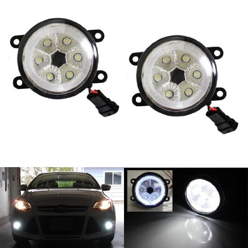 Ijdmtoy (2) 18W High Power 6-Led Fog Light Lamps W/ Led Halo Rings For Ford C-Max Explorer Fiesta Fusion Mustang Taurus Lincoln Ls Navigator Nissan Sentra Se-R Subaru Legacy Outback