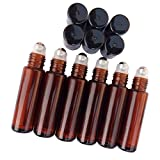 Sinide Empty Roll on Glass Bottles with STAINLESS STEEL ROLLER - Metal Chrome Roller Ball - 10 ml 1/3 oz - 6 Pack (Amber)